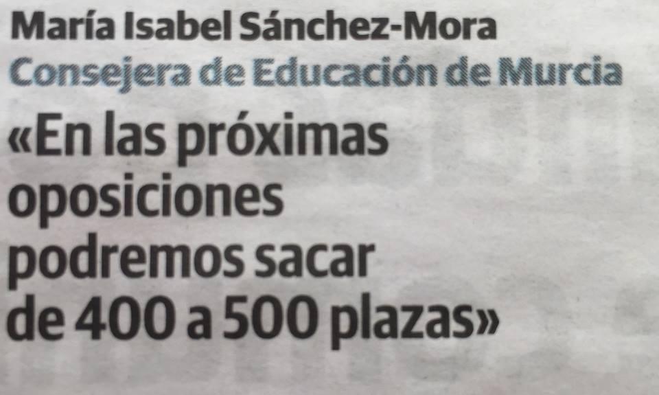 Entre 400 y 500 plazas podría ser la convocatoria de Murcia para Educación en 2016