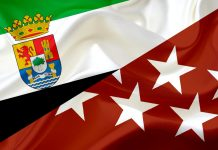 Banderas Extremadura y Madrid