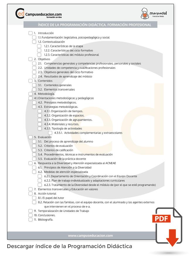índice PDA Formación Profesional